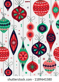 Seamless vector pattern with Christmas ornaments in retro style.