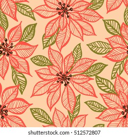 Seamless vector pattern with Christmas poinsettia plant