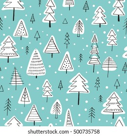 Seamless vector pattern with Christmas trees. Can be used for wallpaper, pattern fills, web page background, surface textures, gifts. Creative Hand Drawn textures for winter holidays.