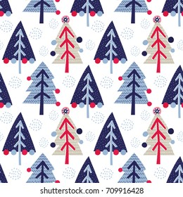 Seamless vector pattern with Christmas trees. Can be used for wallpaper, pattern fills, web page background, surface textures, gifts. Creative Hand Drawn textures for winter holidays