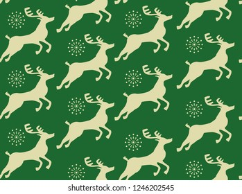 Seamless vector pattern from christmass deers