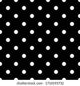 Seamless vector pattern. Circles ornament. Dots background. Polka dot. Black and white.