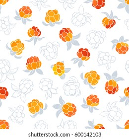 Seamless vector pattern with cloudberry on a white background.
