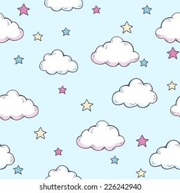 Seamless vector pattern with clouds and stars.