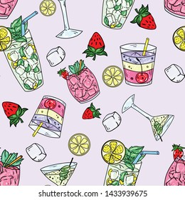 Seamless vector pattern with cocktails, lemonade, cosmopolitan, mojito and martini on pink background. Wallpaper, fabric and textile design. Good for printing. Cute wrapping paper pattern.