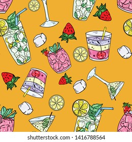 Seamless vector pattern with cocktails, mojito, margarita, martini and cosmopolitan on orange background. Wallpaper, fabric and textile design. Good for printing. Cute wrapping paper pattern.