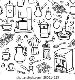 Seamless vector pattern with coffee beans, coffee pot, coffee maker, coffee mill cups.  Hand-drown vintage background. Black and white doodle back ground