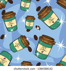 Seamless vector pattern with coffee cup, americano, cappuccino, latte and espresso. Wallpaper, fabric and textile design. Good for printing. Wrapping paper pattern. Cute pattern.