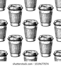 Seamless vector pattern with coffee paper cups. Black-and-white illustration in ink hand drawn style on white background.