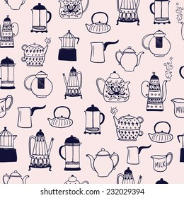 The seamless vector pattern with coffee and tea kettles. Cups, sweets, candies. Food and drinks. Hand drawn vector background