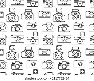 Seamless vector pattern with collection of cameras. Outline illustration isolated on white background