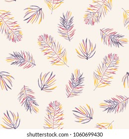 Seamless vector pattern with coloful pine branches in autumn gentle colors. Floral background for fabric, wallpapers, gift wrapping paper, scrapbooking.