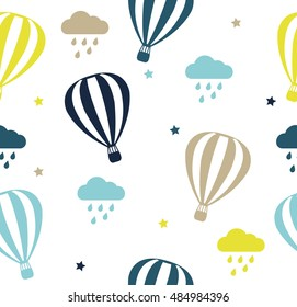 Seamless vector pattern with colored balloons and clouds on white background. Childish background for postcards, wallpaper, papers, textiles.