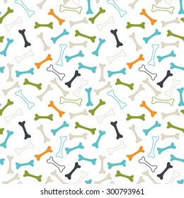 Seamless vector pattern. Colored dog bones texture: orange, blue, green and grey.