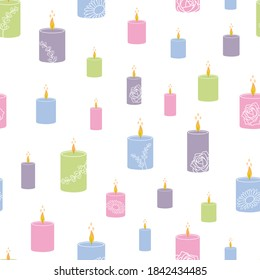 Seamless Vector Pattern with Colorful Aroma Candles with the Fragrances of Rose, Chamomile and Lavender. Great for aromatherapy themed wrapping paper, backdrop for spa, wallpaper, product packaging.