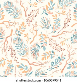 Seamless vector pattern with colorful autumn branches. Floral background for fabric, wallpapers, gift wrapping paper, scrapbooking.