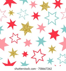 Seamless vector pattern with colorful and golden stars on the white background.