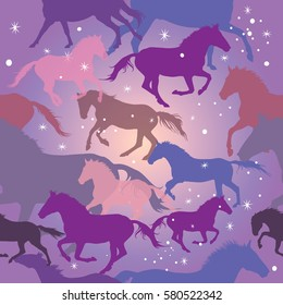 Seamless vector pattern with colorful horses and sparks on purple background