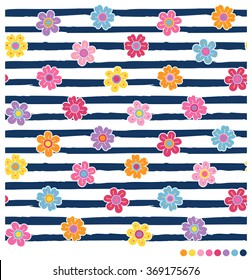 Seamless vector pattern with colorful spring flowers on navy blue and white stripes background