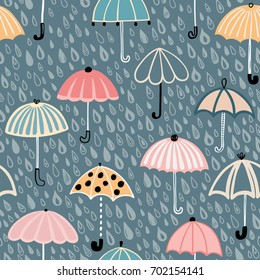 Seamless vector pattern with colorful umbrellas