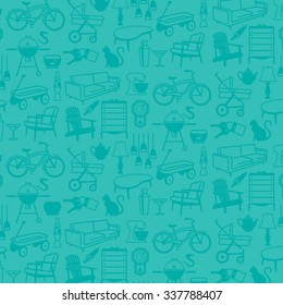 Seamless vector pattern of common household items including furniture and fixtures. Fully scalable and editable.