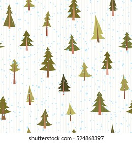 Seamless vector pattern with coniferous trees and snow. Cartoon style.