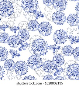 Seamless vector pattern with cornflower in the Toile de Jouy style. Blue flowers isolated on white background. Print design for wallpapers, textile, fabric, wrapping gift, ceramic tiles