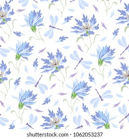 Seamless vector pattern with cornflowers and dragonflies