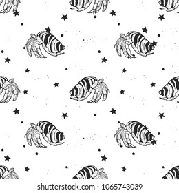 Seamless vector pattern - Crab hermit