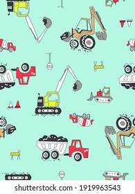 seamless vector pattern crane, truck, and machine construction
