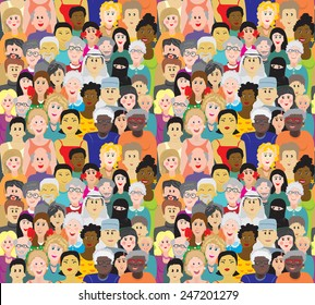Seamless vector pattern with a crowd of people of different ages, races and nationalities. Men, women, grandmothers, grandfathers, boys, girls in colorful clothes.