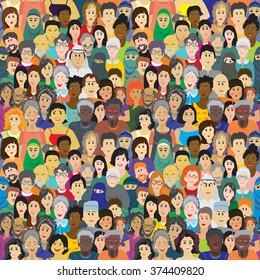 Patrón vectorial sin problemas con una multitud de personas de diferentes edades, razas y nacionalidades. Hombres, mujeres, abuelos, abuelos, niños y niñas vestidos con ropa de colores