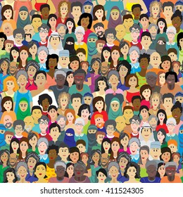Seamless vector pattern with a crowd of people of different ages, races and nationalities. Men, women, grandmothers, grandfathers, boys, girls in colorful clothes