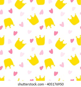 Seamless Vector Pattern with Crowns and Hearts