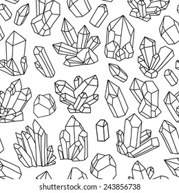 Seamless vector pattern with crystals. Black and white illustration