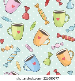 seamless vector pattern with cups and candies