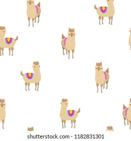 Seamless vector pattern with cute alpacas. Child illustration with a lama from Peru.