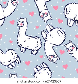 Seamless vector pattern with cute alpacas and hearts. Child illustration with a lama from Peru. In the Japanese anime style.