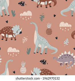 Seamless vector pattern with cute animal dinosaurs on a beige background in. Creative animalic texture. Great for baby fabrics, textiles and designs
