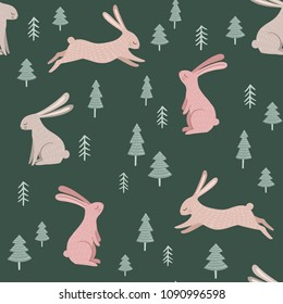 Seamless vector pattern with cute animals and trees. Hand drawn vintage illustration with rabbits. Forest woodland background for kids textile, wrapping paper, wall art design, nursery poster.