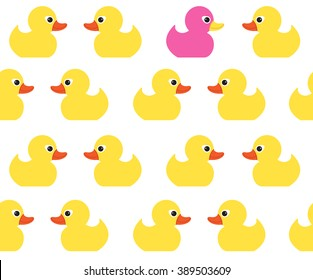 Seamless vector pattern with cute bright yellow ducks. Duck toy baby shower illustration. For cards, invitations,  backgrounds and scrapbooks, wallpapers