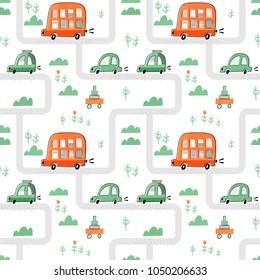 Seamless vector pattern with cute cars and buses for typography poster, card, label, brochure, flyer, page, banner design. Vector illustration background