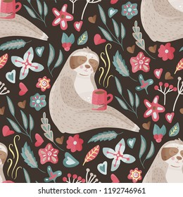 Seamless vector pattern with cute cartoon sloth animal drinking coffee on a dark background. Vector kids illustrations in a flat style with floral elements.