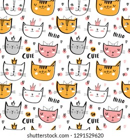Seamless vector pattern with cute cats for typography poster, card, label, brochure, flyer, page, banner design. Vector illustration background. Black, pink and yellow.