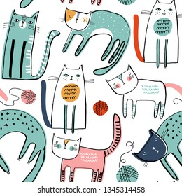 Seamless vector pattern with cute cats for typography poster, card, label, brochure, flyer, page, banner design. Vector illustration background.