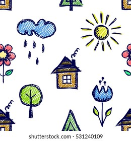 Seamless vector pattern with cute childish hand drawn  house, sun, cloud, rain, flowers, tree. Colorful endless doodle background with line drawing sketch elements Graphic repeat doodle illustration