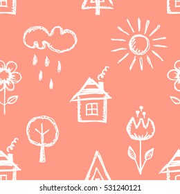 Seamless vector pattern with cute childish hand drawn  house, sun, cloud, rain, flowers, tree. Pink endless doodle background with line drawing sketch elements Graphic repeat doodle illustration