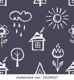 Seamless vector pattern with cute childish hand drawn  house, sun, cloud, rain, flowers, tree. Blue endless doodle background with line drawing sketch elements Graphic repeat doodle illustration