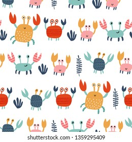 Seamless vector pattern with cute crabs. For cards, t-shirt prints, birthday, party invitations, scrapbook, summer holidays. Vector illustration in red, yellow and blue colors.