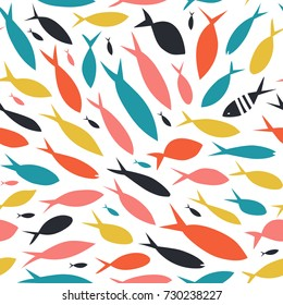 Seamless vector pattern with cute decorative fishes. Funny multicolor background, marine texture